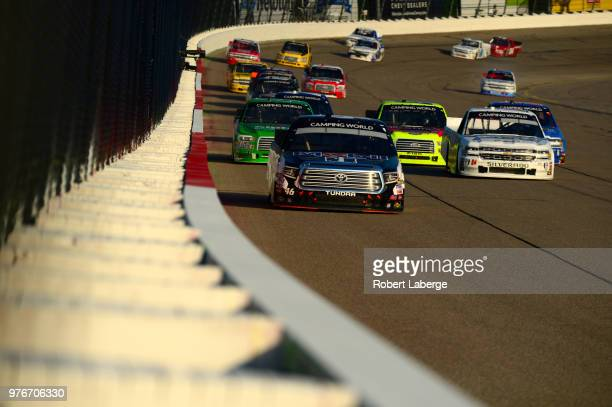 Christian Eckes driver of the Mobil 1 Toyota leads a pack of cars during the NASCAR Camping World Truck Series MM's 200 presented by Casey's General...