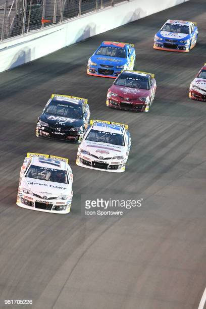 Christian Eckes of Middletown NY driving a Toyota for Venturing Motorsports takes an early lead during the ARCA Racing Series PapaNicholas Coffee 150...