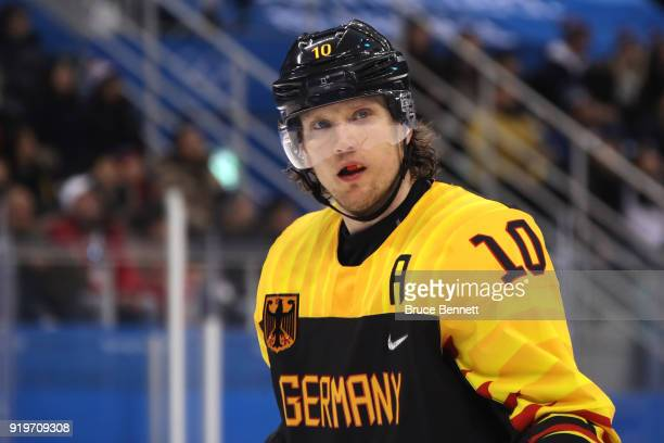 Christian Ehrhoff of Germany looks on in the third period against Norway during the Men's Ice Hockey Preliminary Round Group B game on day nine of...