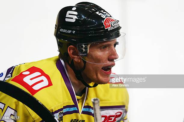 Christian Ehrhoff of Krefeld during the DEL match between Adler Mannheim and Krefeld Pinguine at SAPArena on October 12 2012 in Mannheim Germany