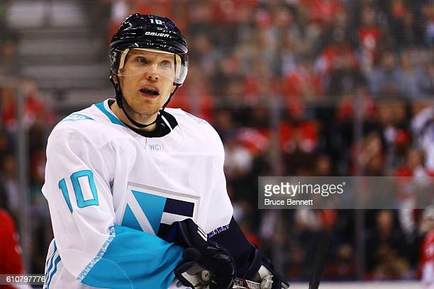 Christian Ehrhoff of Team Europe looks on against Team Canada during the second period during Game One of the World Cup of Hockey final series at Air...