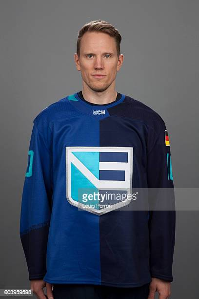 Christian Ehrhoff of Team Europe poses for his official World Cup of Hockey head shot at The Vidéotron Center on September 6 2016 in Quebec City...