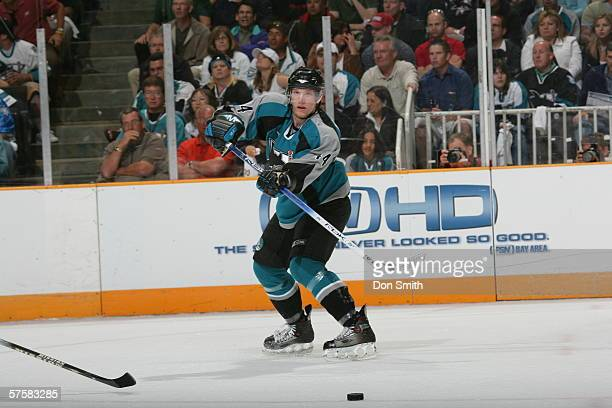Christian Ehrhoff of the San Jose Sharks passes the puck during Game 2 of the Western Conference Semifinals against the Edmonton Oilers on May 8,...