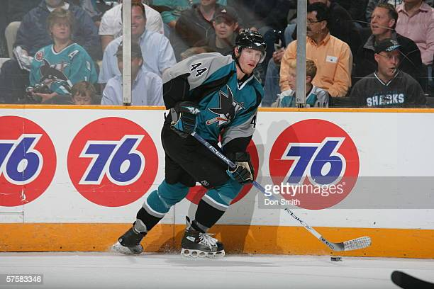 Christian Ehrhoff of the San Jose Sharks skates with the puck during Game 2 of the Western Conference Semifinals against the Edmonton Oilers on May...