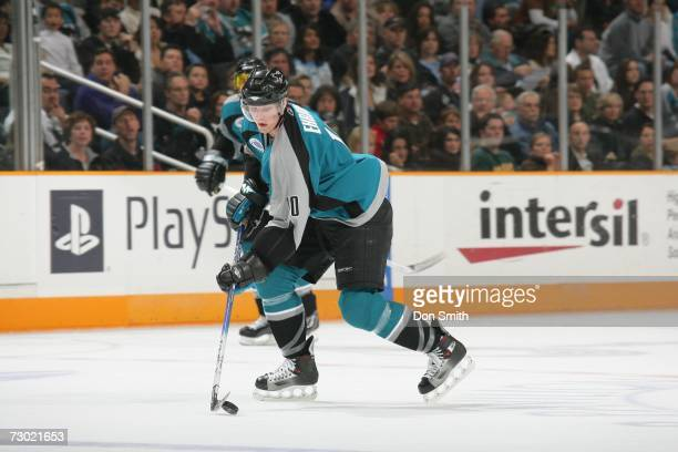 Christian Ehrhoff of the San Jose Sharks skates with the puck during a game against the Columbus Blue Jackets on January 6 2007 at the HP Pavilion in...
