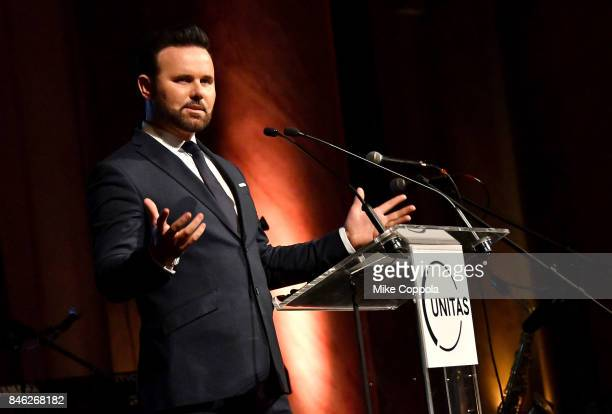 Christian Elliott speaks onstage during Unitas Third Annual Gala Against Human Trafficking at Capitale on September 12 2017 in New York City