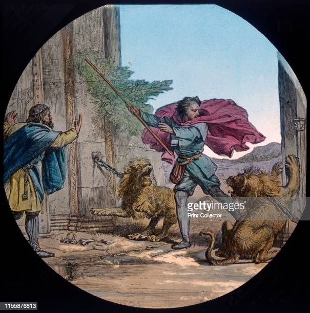 """Christian encounters two lions', circa 1910. Scene from """"The Pilgrim's Progress"""", by John Bunyan. Glass lantern slide produced by the Church Army..."""