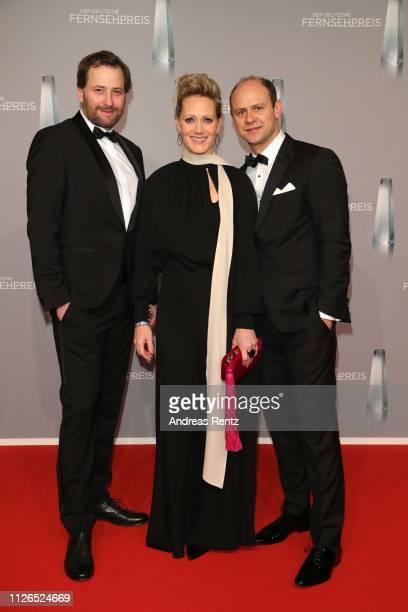Christian Erdmann, Anna Schudt and Moritz Fuehrmann attend the German Television Award at Rheinterrasse on January 31, 2019 in Duesseldorf, Germany.