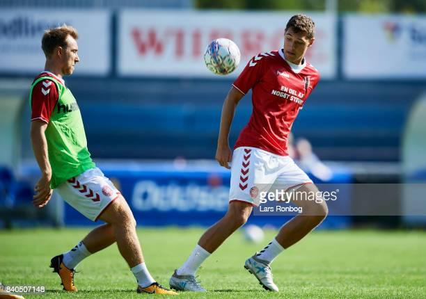 Christian Eriksen and Andreas Christensen in action during the Denmark training session at Helsingor Stadion on August 29 2017 in Helsingor Denmark