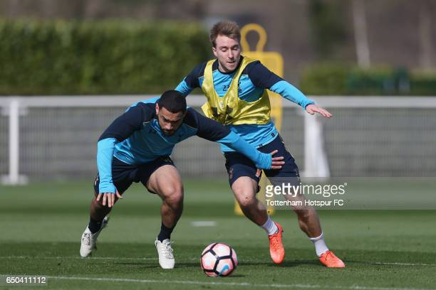 Christian Eriksen and Cameron Carter-Vickers of Tottenham during the Tottenham Hotspur training session at Tottenham Hotspur Training Centre on March...