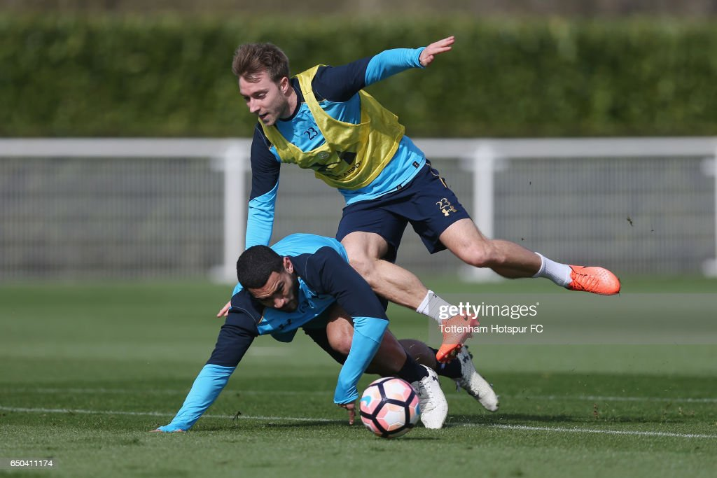 Christian Eriksen and Cameron Carter-Vickers of Tottenham during the Tottenham Hotspur training session at Tottenham Hotspur Training Centre on March 9, 2017 in Enfield, England.