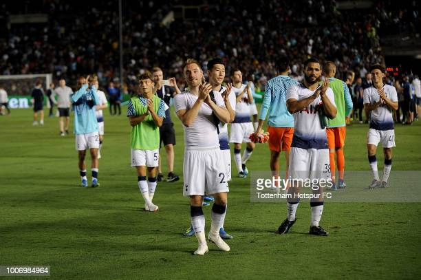 Christian Eriksen and Cameron CarterVickers of Tottenham Hotspur acknowledge fans after being defeated in an International Champions Cup match...
