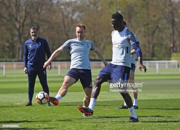 Christian Eriksen and Davinson Sanchez in action during the Tottenham Hotspur Training Session at Tottenham Hotspur Training Centre on April 19 2018...