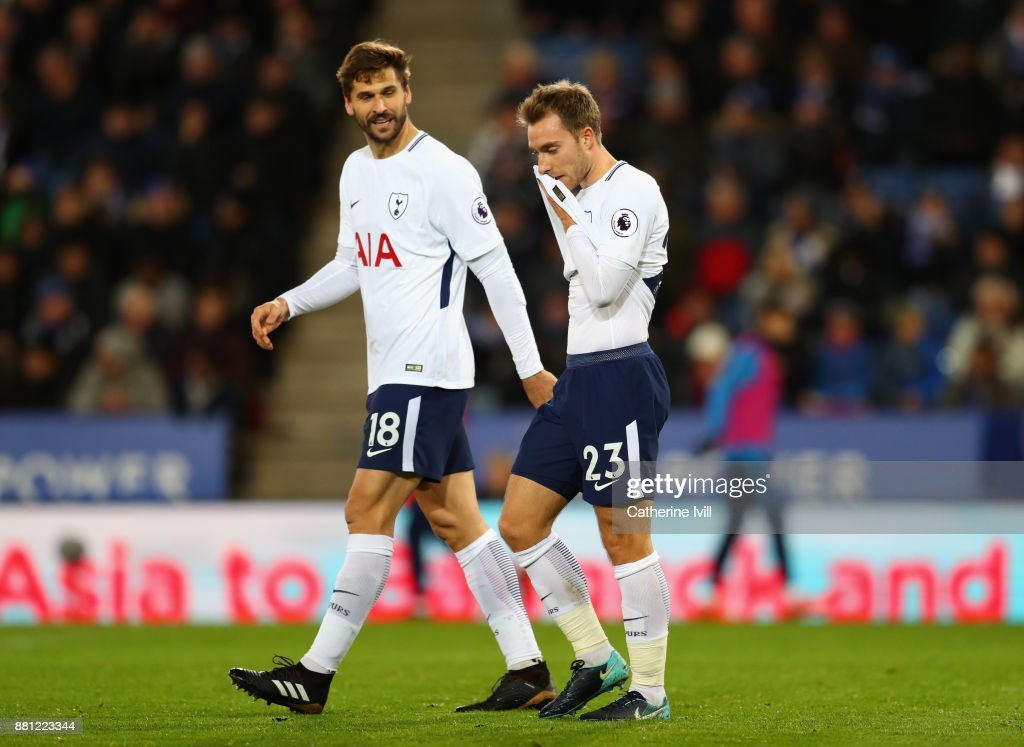 Christian Eriksen and Fernando Llorente of Tottenham Hotspur look dejected during the Premier League match between Leicester City and Tottenham Hotspur at The King Power Stadium on November 28, 2017 in Leicester, England.
