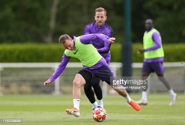 Christian Eriksen and Harry Kane of Tottenham Hotspur during the Tottenham Hotspur training session at Tottenham Hotspur Training Centre on May 28,...