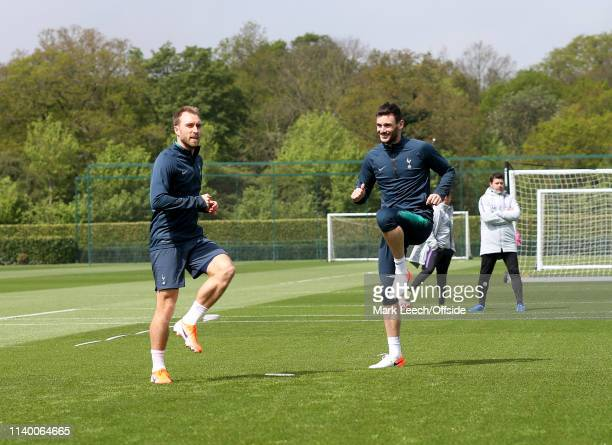 Christian Eriksen and Hugo Lloris during the Tottenham Hotspur Training Session on April 29 2019 in Enfield England