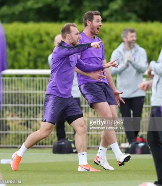 Christian Eriksen and Jan Vertonghen of Tottenham Hotspur during the Tottenham Hotspur media day at Tottenham Hotspur Training Centre on May 27, 2019...