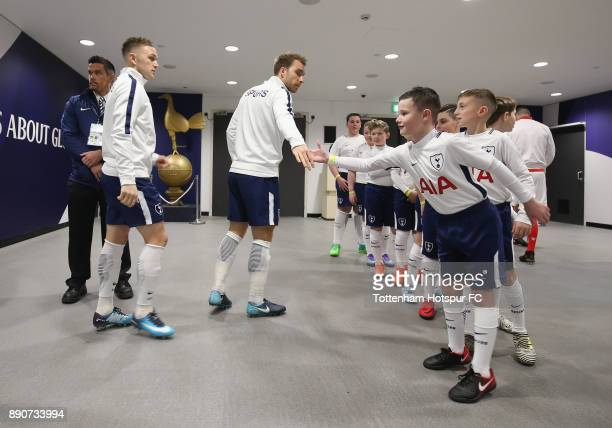 Christian Eriksen and Kieran Trippier of Tottenham Hotspur during the Premier League match between Tottenham Hotspur and Stoke City at Wembley...
