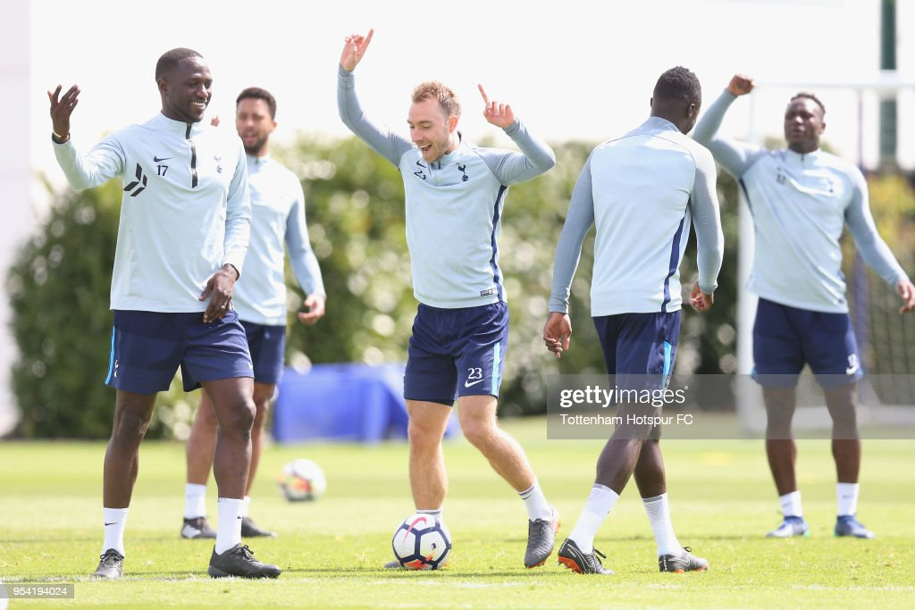 Christian Eriksen and Moussa Sissoko of Tottenham Hotspur during the Tottenham Hotspur training session at Tottenham Hotspur Training Centre on May 3, 2018 in Enfield, England.