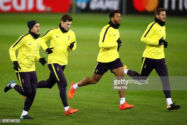 Christian Eriksen Ben Davies Mousa Dembele and Jan Vertonghen of Tottenham Hotspur during a Tottenham Hotspur training session ahead of the Chamions...