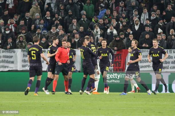 Christian Eriksen celebrates after scoring during the UEFA Champions League 2017/18 football match between Juventus FC and Tottenham Hotspur FC at...