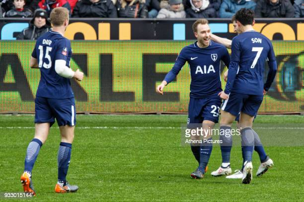 Christian Eriksen celebrates his goal during the Emirates FA Cup Quarter Final match between Swansea City and Tottenham Hotspur at The Liberty...