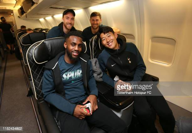Christian Eriksen Danny Rose Ben Davies and HeungMin Son pose as the Tottenham Hotspur team depart for the Champions League Final in Madrid at...