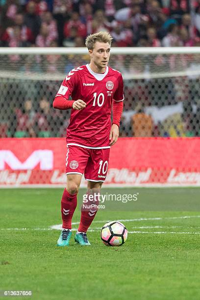 Christian Eriksen during the 2018 FIFA World Cup qualification match between Poland and Denmark national football teams at National Stadium in Warsaw...