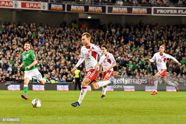 Christian Eriksen during the FIFA World Cup 2018 qualification Play off football match between Republic of Ireland and Denmark at the Aviva Stadium...