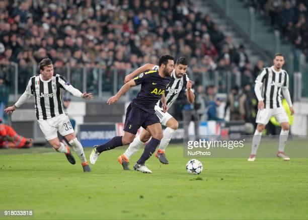 Christian Eriksen during the UEFA Champions League round of sixteen first leg football match between Juventus and Tottenham Hotspur at The Allianz...