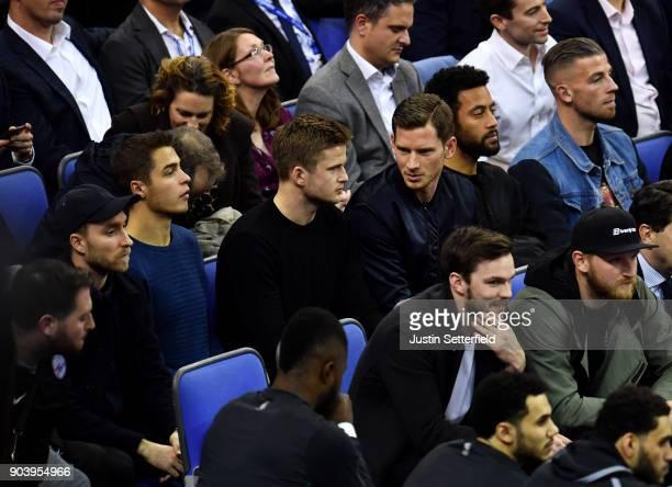 Christian Eriksen Eric Dier Jan Vertonghen and Moussa Dembele of Tottenham during the NBA game between Boston Celtics and Philadelphia 76ers at The...