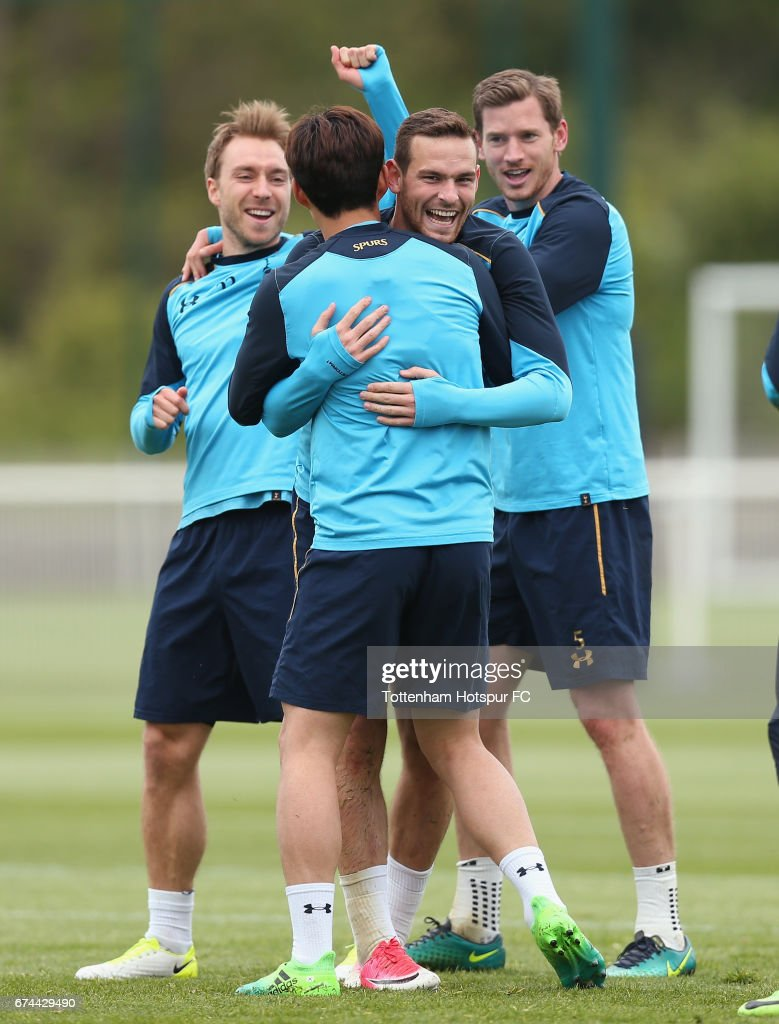Christian Eriksen, Heung-min Son, Vincent Janssen and Jan Vertonghen of Tottenham during the Tottenham Hotspur training session at Tottenham Hotspur Training Centre on April 28, 2017 in Enfield, England.