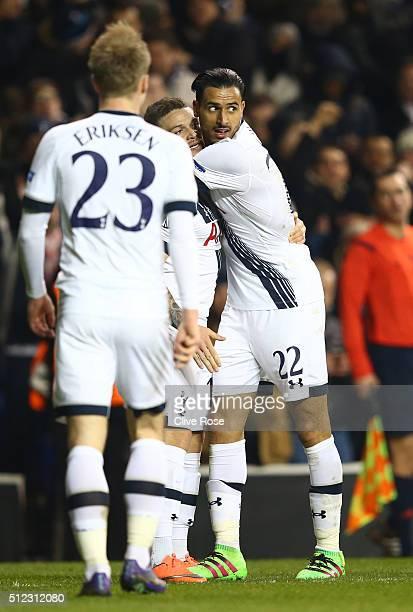 Christian Eriksen Kieran Trippier and Nacer Chadli of Tottenham Hotspur celebrate as Gonzalo Rodriguez of Fiorentina scores an own goal for their...