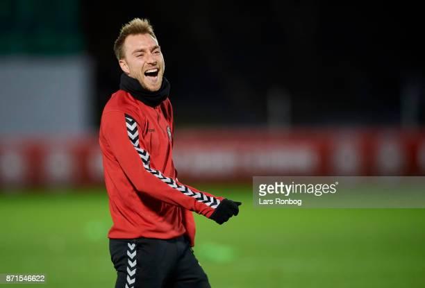 Christian Eriksen laughing the Denmark training session at Helsingor Stadion on November 7 2017 in Helsingor Denmark