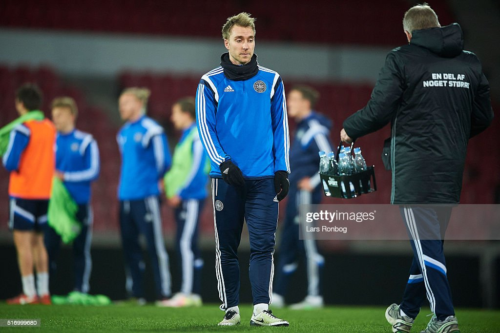Christian Eriksen looks on during the Denmark training session at MCH Arena on March 22, 2016 in Herning, Denmark.