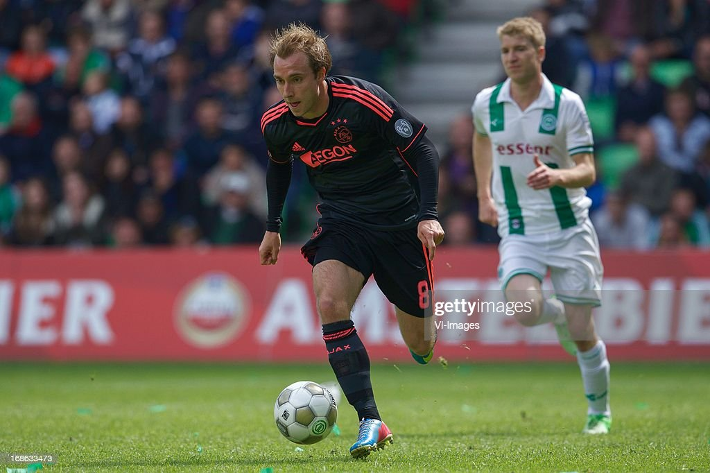 Christian Eriksen of Ajax during the Dutch Eredivisie match between FC Groningen and Ajax on May 12, 2013 at the Euroborg stadium in Groningen, The Netherlands.