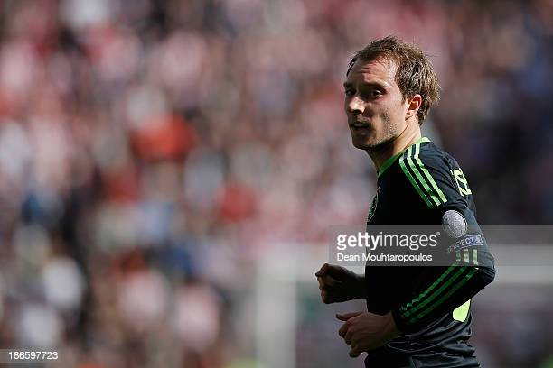 Christian Eriksen of Ajax looks on during the Eredivisie match between PSV Eindhoven and Ajax Amsterdam at Philips Stadion on April 14 2013 in...
