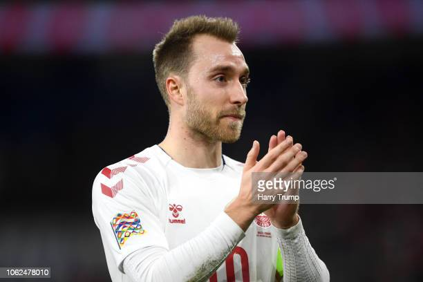 Christian Eriksen of Denmark acknowledges the fans after the UEFA Nations League Group B match between Wales and Denmark at Cardiff City Stadium on...