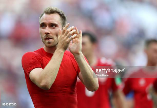 Christian Eriksen of Denmark acknowledges the fans following the 2018 FIFA World Cup Russia group C match between Denmark and France at Luzhniki...