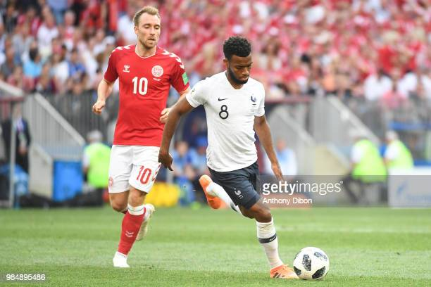 Christian Eriksen of Denmark and Thomas Lemar of France during the FIFA World Cup Group C match between Denmark and France at Luzhniki Stadium on...