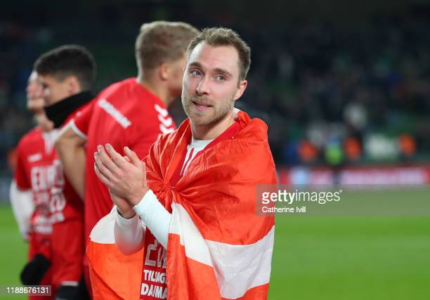 Christian Eriksen of Denmark applauds after the UEFA Euro 2020 qualifier between Republic of Ireland and Denmark so at Dublin Arena on November 18,...