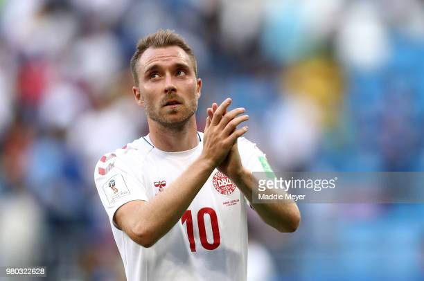Christian Eriksen of Denmark applauds fans after the 2018 FIFA World Cup Russia group C match between Denmark and Australia at Samara Arena on June...