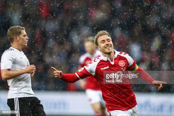 Christian Eriksen of Denmark celebrates after scoring a goal to make it 10 during the international friendly match between Denmark v Germany on June...