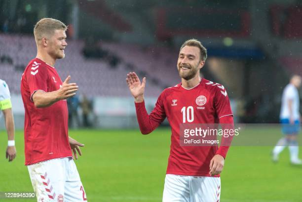 Christian Eriksen of Denmark Celebrates after scoring his team´s second goal with teammates during the international friendly match between Denmark...