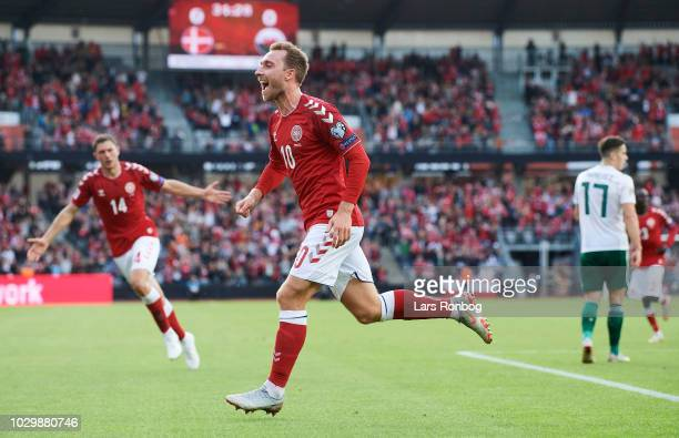 Christian Eriksen of Denmark celebrates after scoring their first goal during the UEFA Nations League match between Denmark and Wales at Ceres Park...