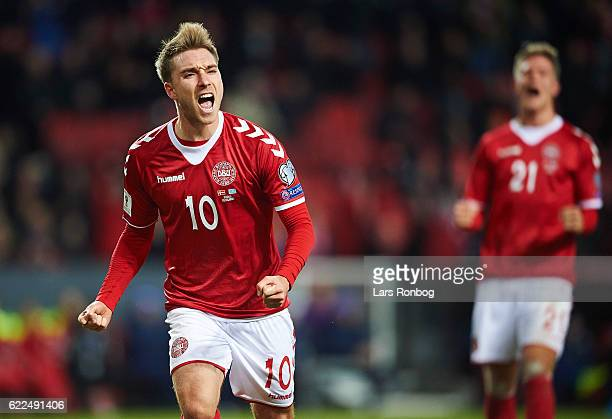 Christian Eriksen of Denmark celebrates after scoring their second goal during the FIFA 2018 World Cup Qualifier match between Denmark and Kazakhstan...