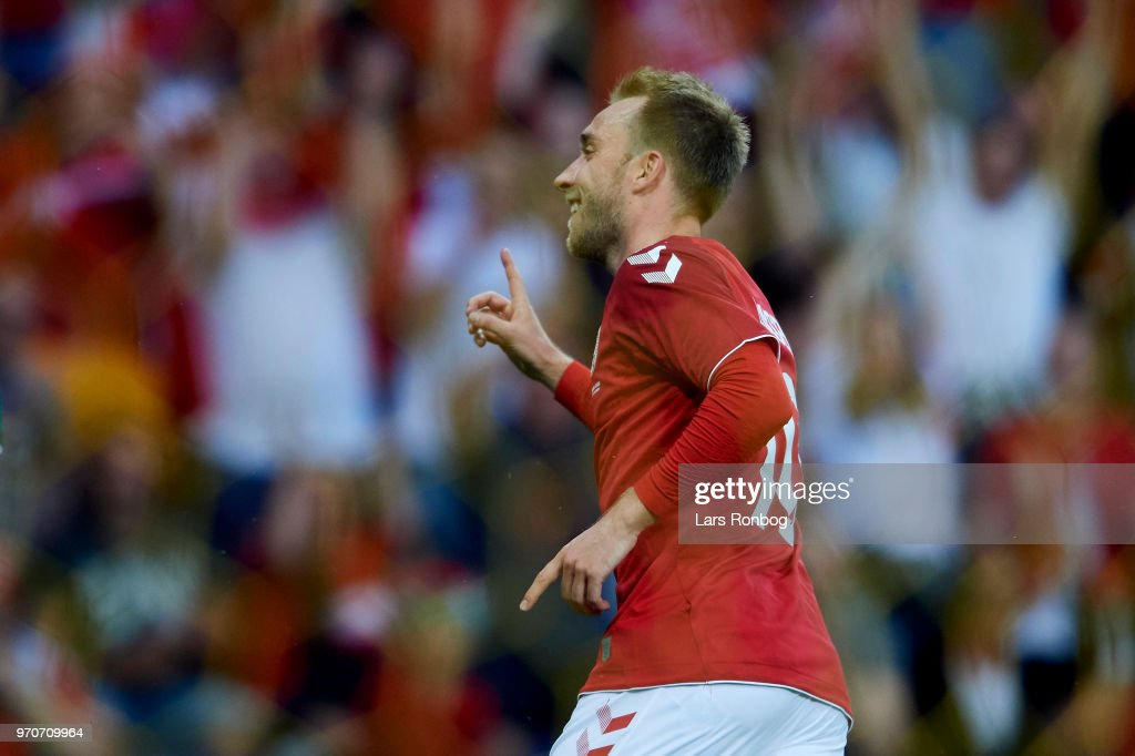 Christian Eriksen of Denmark celebrates after scoring their second goal during the international friendly match between Denmark and Mexico at Brondby Stadion on June 9, 2018 in Brondby, Denmark.