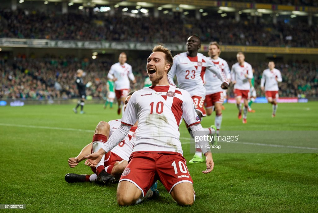 Christian Eriksen of Denmark celebrates after scoring their third goal during the FIFA 2018 World Cup Qualifier Play-Off Second Leg match between Republic of Ireland and Denmark at Aviva Stadium on November 14, 2017 in Dublin, Republic of Ireland.