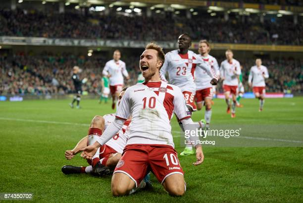 Christian Eriksen of Denmark celebrates after scoring their third goal during the FIFA 2018 World Cup Qualifier PlayOff Second Leg match between...