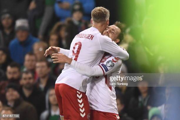 Christian Eriksen of Denmark celebrates after the 21 goal scored during the World Cup Qualifier PlayOff Second Leg match between Republic of Ireland...